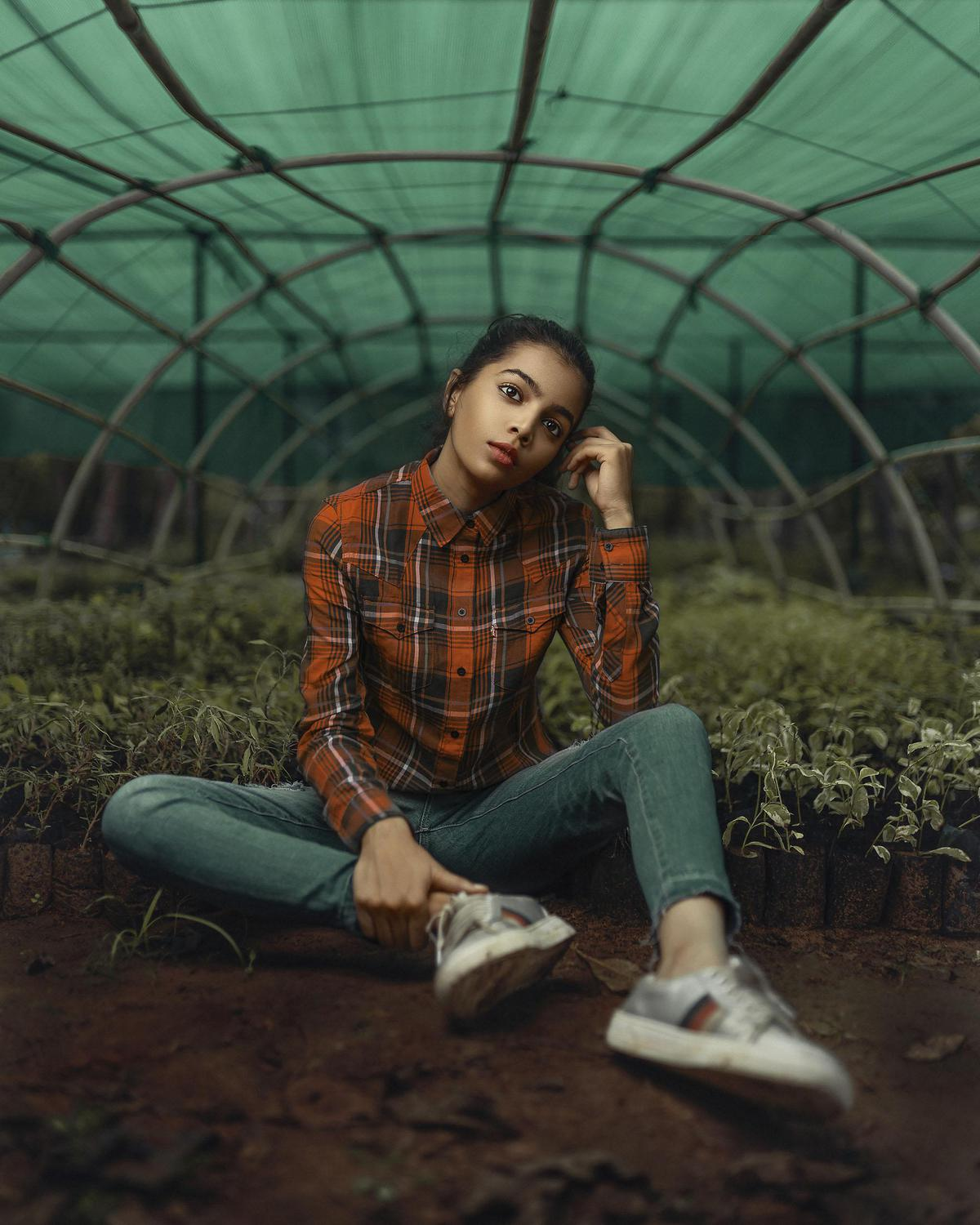 Image of Green, Photograph, Plaid, Sitting, Photo shoot, Cool etc.