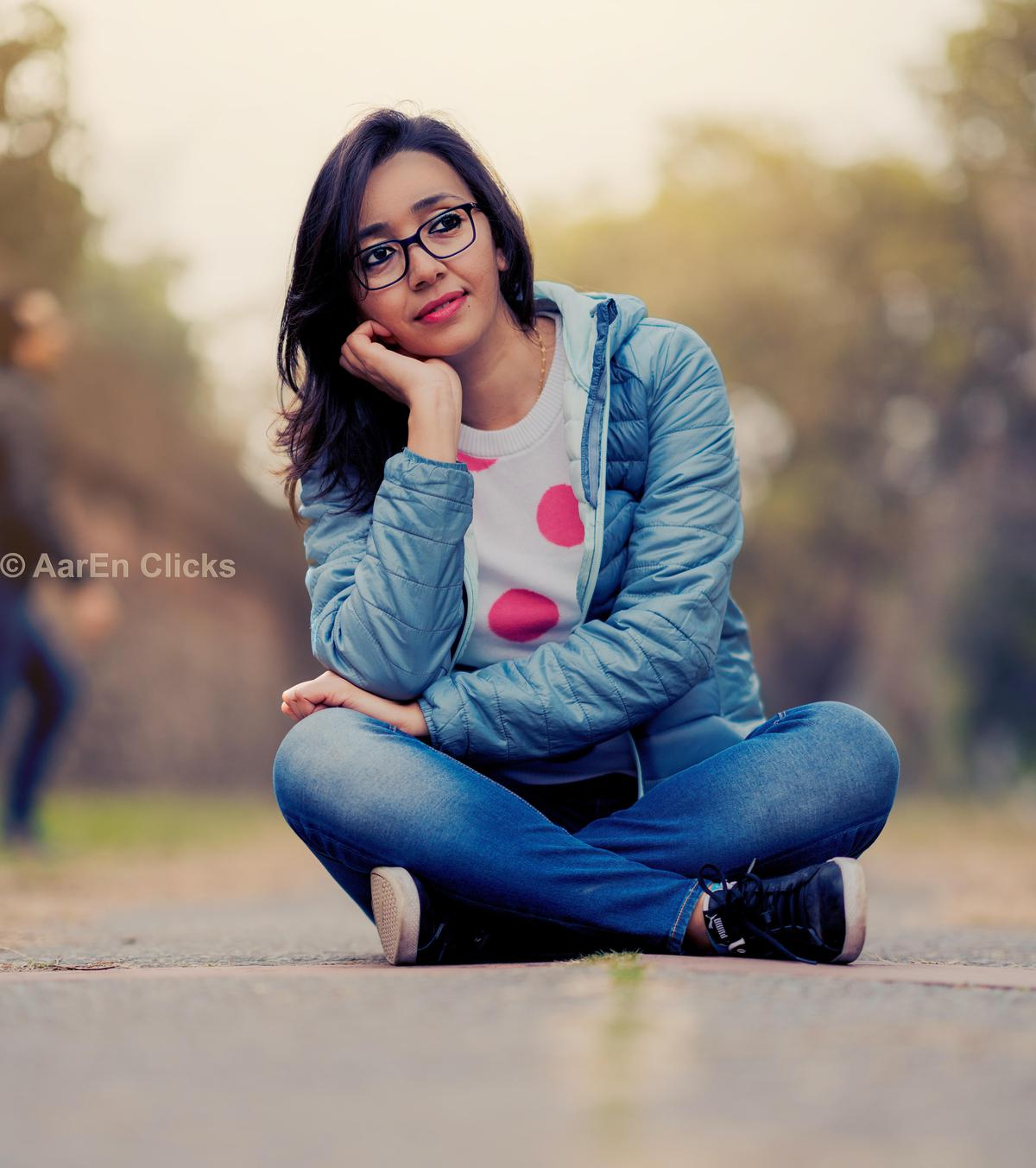 Image of People in nature, Photograph, Sitting, Beauty, Blue, Lip etc.