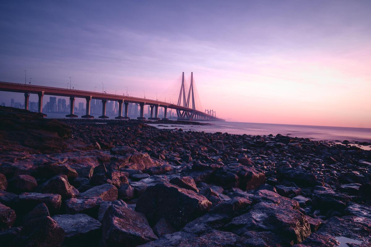 Image of Sky, Sea, Horizon, Bridge, Coast, Landmark etc.