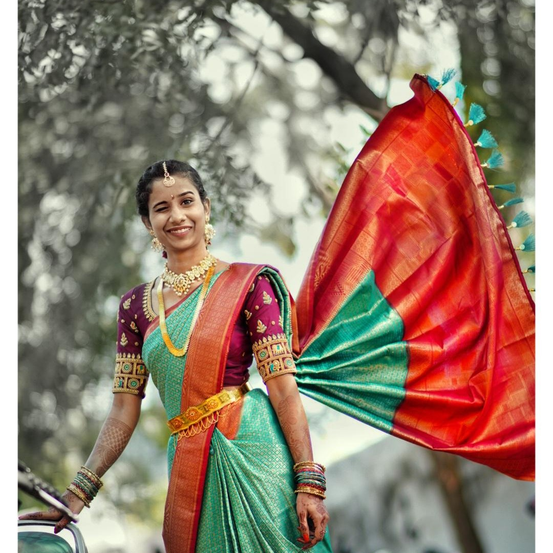 Image of Beauty, Maroon, Green, Clothing, Sari etc.