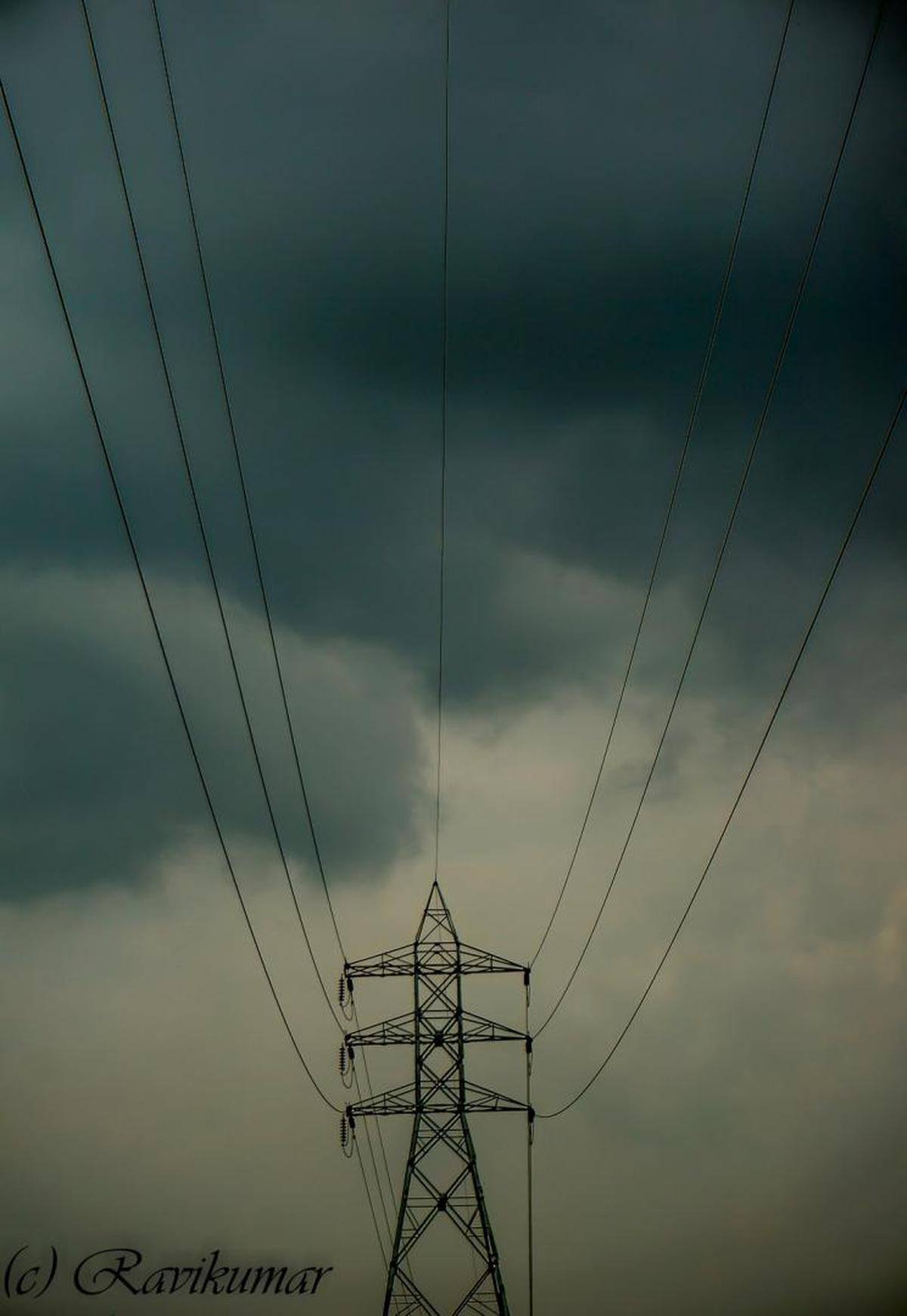 Image of Overhead power line, Electricity, Sky, Electrical supply, Wire, Transmission tower etc.