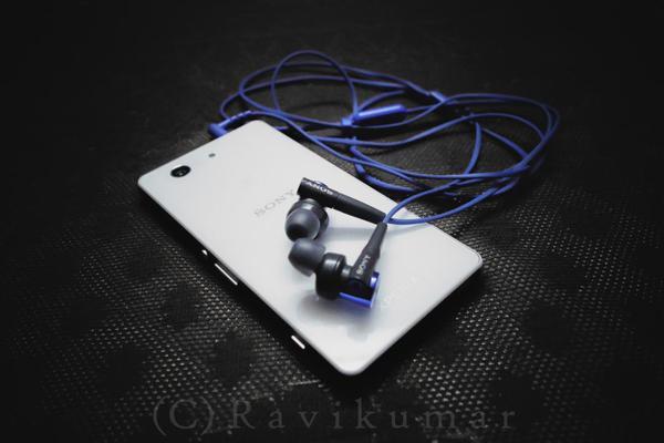Image of Earphone, Mobile phone, Sony etc.