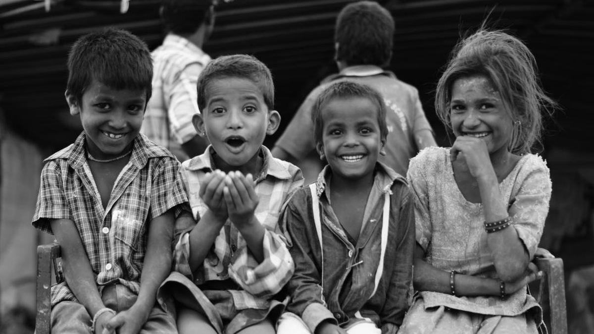 Image of People, Child, Facial expression, Smile, Monochrome, Black-and-white etc.