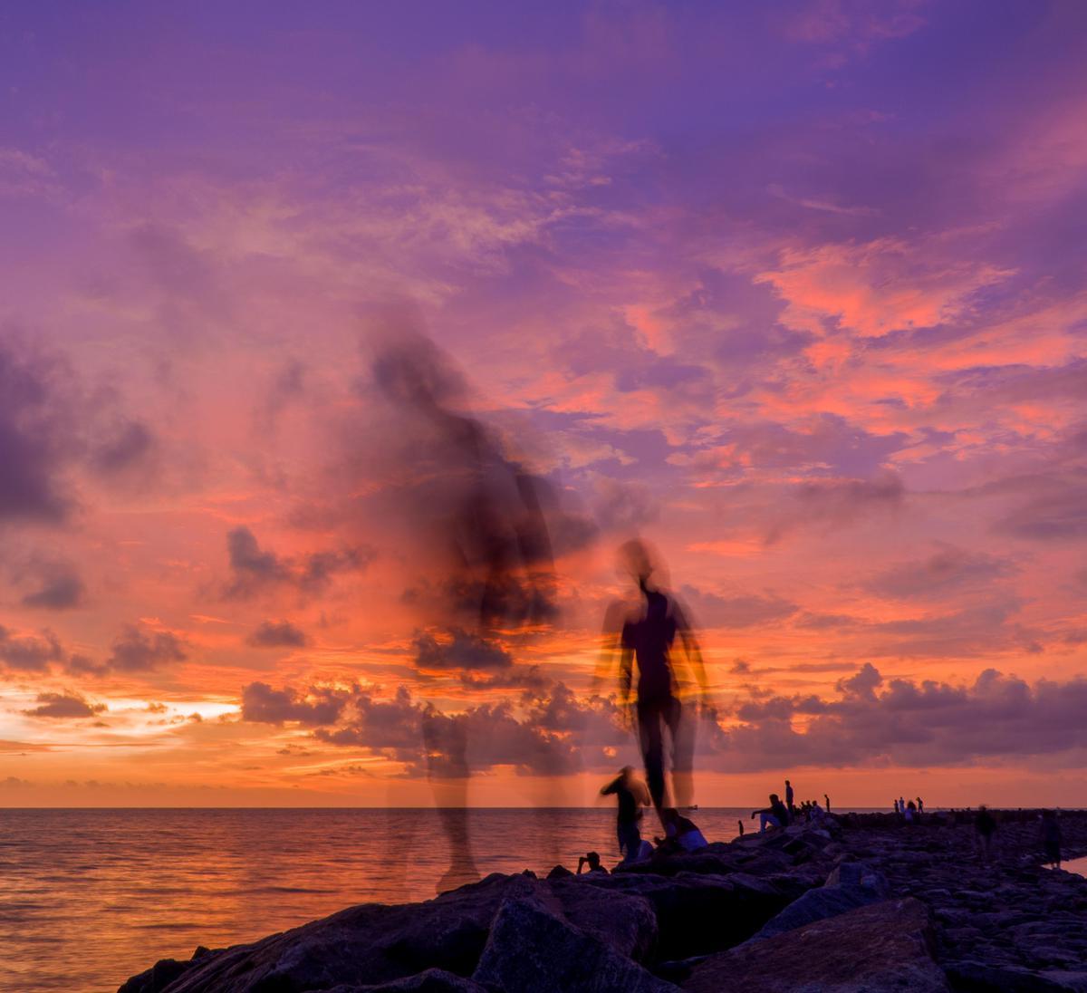 Image of Sky, Afterglow, Sunset, Horizon, Sea, Evening etc.