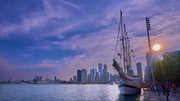 Image of Tall ship, Marina, Skyline, Metropolitan area, Vehicle, Cityscape etc.