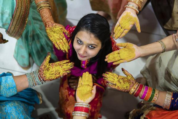 Image of Mehndi, Ceremony, Marriage, Sari, Ritual, Tradition etc.