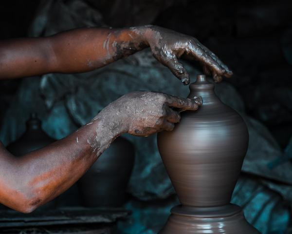 Image of Hand, Pottery, Wheel, Sculpture, Potter's wheel, Art etc.