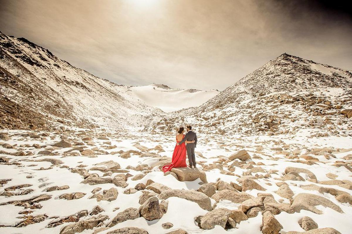Image of People in nature, Photograph, Mountainous landforms, Mountain, Sky, Snow etc.