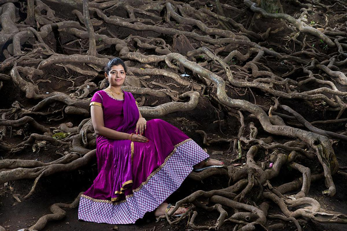 Image of Purple, Dress, Lady, Beauty, Tree, Pink etc.