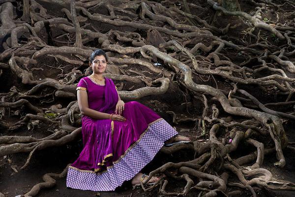 Image of Purple, Dress, Lady, Beauty, Tree, Pink etc.