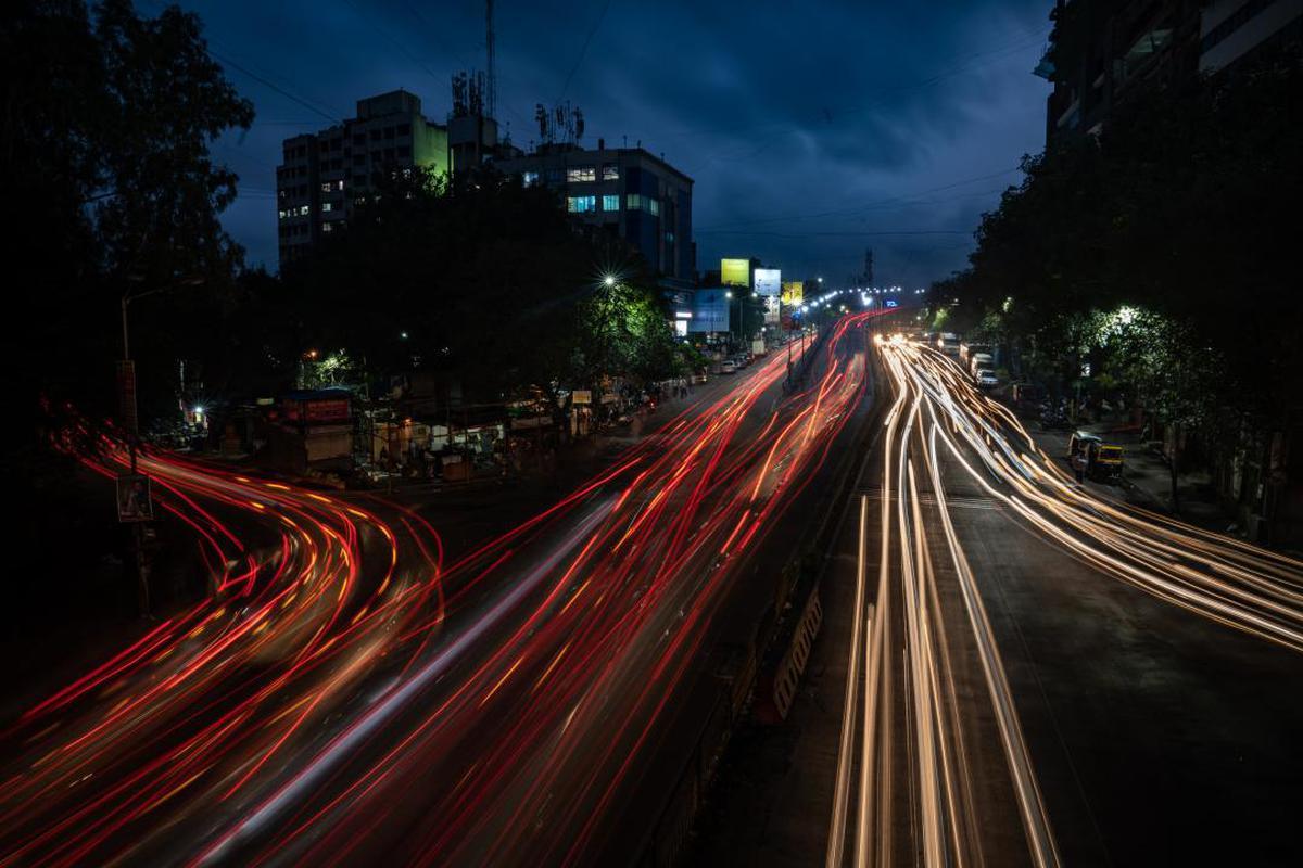 Image of Road, Highway, Night, Sky, Red, Light etc.