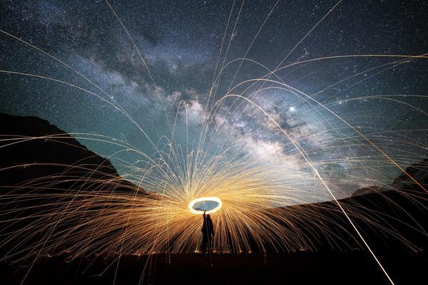 Image of Nature, Sky, Night, Light, Fireworks, Water etc.