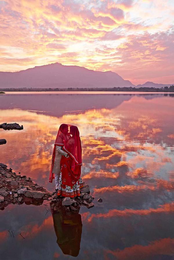 Image of Sky, Reflection, Red, Sunset, Sunrise, Water etc.