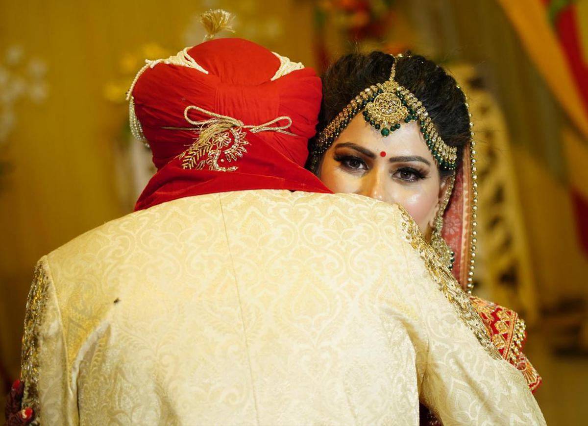 Image of Bride, Red, Yellow, Tradition, Ceremony, Sari etc.
