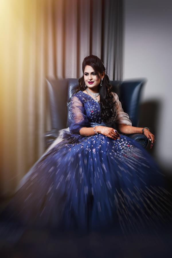 Image of Blue, Clothing, Dress, Purple, Lady, Beauty etc.