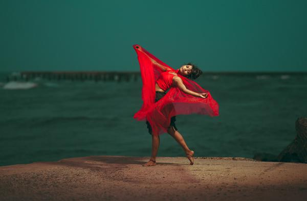 Image of Happy, People in nature, Beach, People on beach, Flash photography, Dress etc.