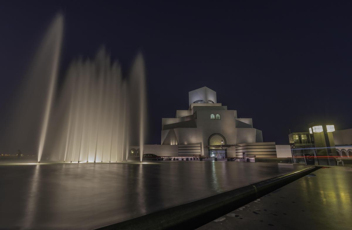 Image of Fountain, Water, Landmark, Night, Light, Architecture etc.