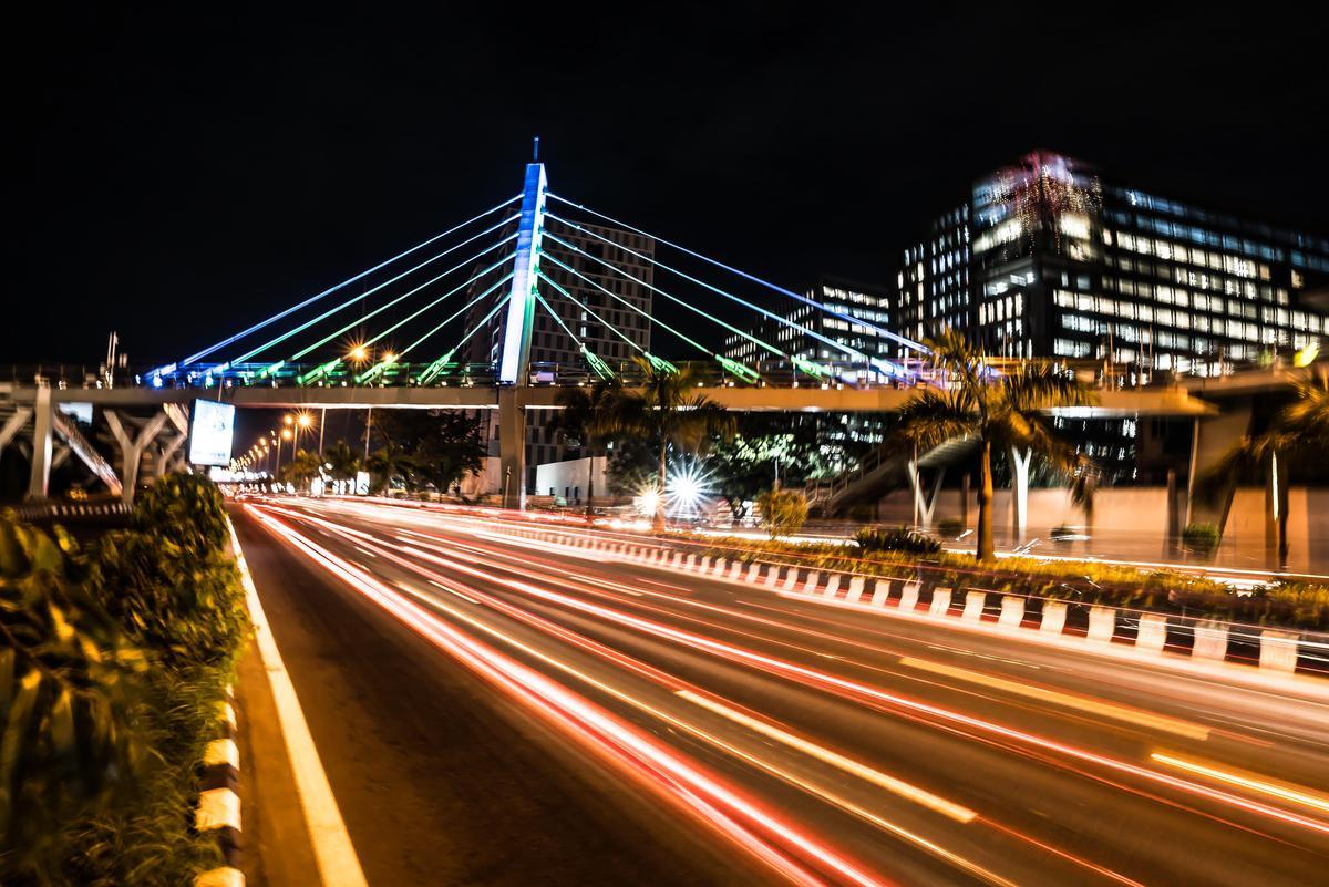 Image of Night, Bridge, Cable-stayed bridge, Metropolitan area, Light, Urban area etc.