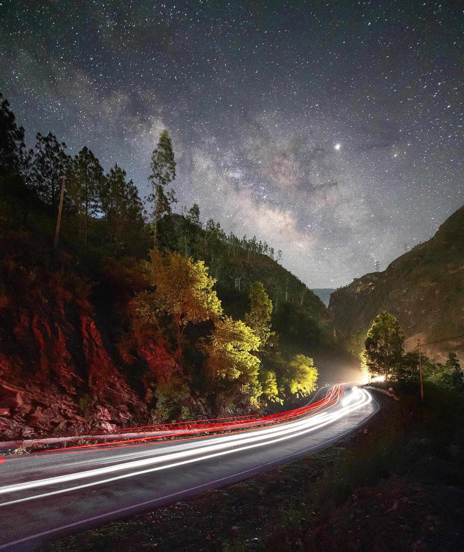 Image of Sky, Nature, Road, Night, Natural landscape, Asphalt etc.